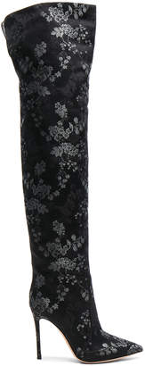 Gianvito Rossi Embroidered Silk Rennes Thigh High Boots