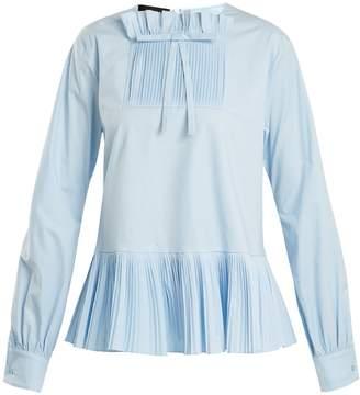 Rochas Pleated balloon-sleeve cotton-blend blouse