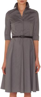 Akris Punto Stripe Cotton Fit & Flare Dress