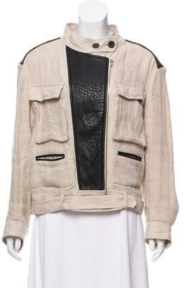IRO Leather-Accented Linen Jacket