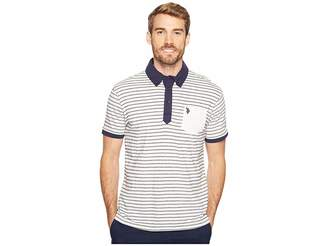 U.S. Polo Assn. Slim Fit Striped Short Sleeve Pique Polo Shirt Men's Short Sleeve Pullover