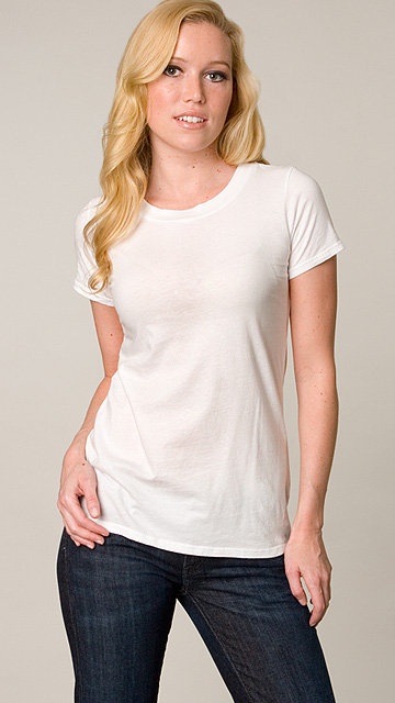 James Perse White Vintage Jewel Neck Tee