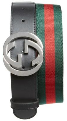Men's Gucci Logo Buckle Interlock Belt $360 thestylecure.com