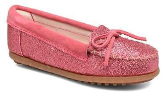 Minnetonka Kids's Glitter Moc Rounded Toe Loafers In Pink - Size Uk 8 Infant /