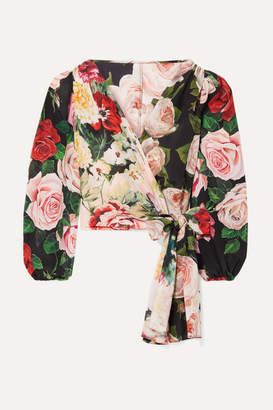 Dolce & Gabbana Floral-print Silk Crepe De Chine Wrap Top - Black
