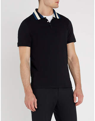 Sandro Striped-collar cotton-piqué and stretch-knit polo shirt