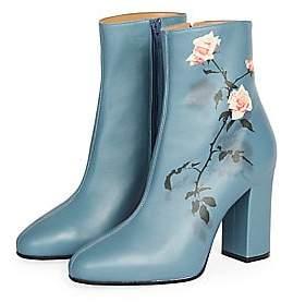 Dries Van Noten Women's Rose Leather Booties