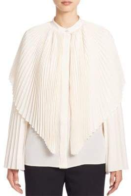 Stella McCartney Plisse Silk Cape Blouse