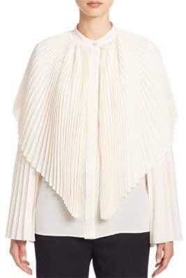 Stella McCartney Plisse Silk Cape Blouse