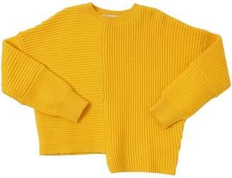 Stella McCartney Asymmetrical Hem Cotton Rib Knit Sweater