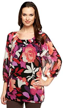 Isaac Mizrahi Live! 3/4 Sleeve Lily Bouquet Print Tunic