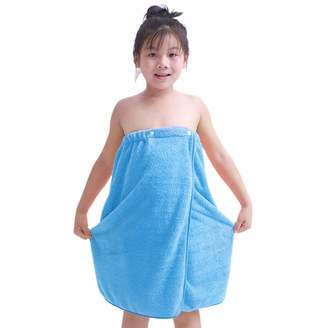 Jiyaru Bath Towel Wrap Shower Robe with Button Closure Soft for Kids Boys Girls