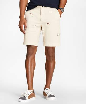 Brooks Brothers Embroidered Dog Cotton-Twill Shorts