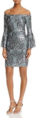 AQUA Sequin Off-the-Shoulder Dress - 100% Exclusive $298 thestylecure.com