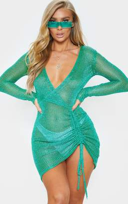 PrettyLittleThing Green Metallic Knitted Wrap Front Dress
