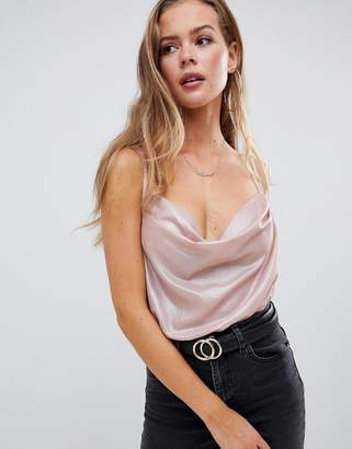 Missguided cowl neck strappy body in blush