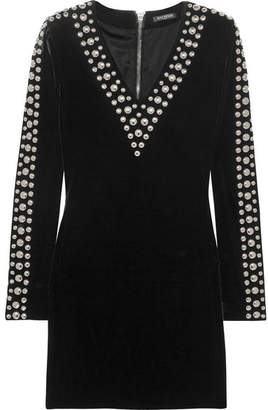 Balmain - Studded Velvet Mini Dress - Black $2,445 thestylecure.com