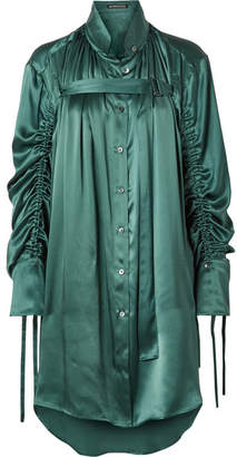 Ann Demeulemeester Oversized Ruched Silk-charmeuse Blouse - Petrol