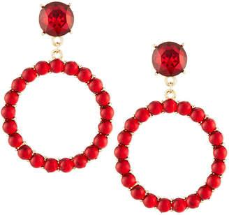 Lydell NYC Crystal Hoop Drop Earrings, Red