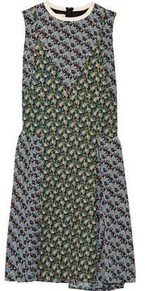 Marni Paneled Printed Silk Crepe De Chine Dress