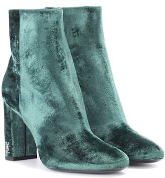 Saint Laurent Loulou 95 velvet ankle boots