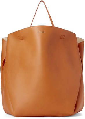 Jil Sander Brown Large Tulip Leather Tote