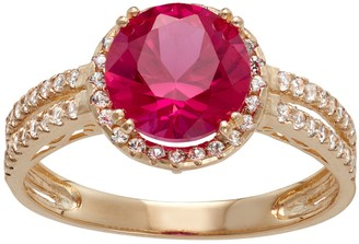 10k Gold Lab-Created Ruby & White Sapphire Halo Ring