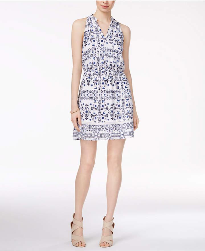 Maison Jules Printed Split-Neck Dress, Only at Macy's