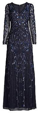 Aidan Mattox Women's Beaded Illusion Long-Sleeve Gown