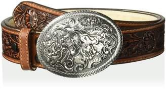 Nocona Belt Company Belt Co. Women's USA Aged Brown Floral Buckle Belt Accessory