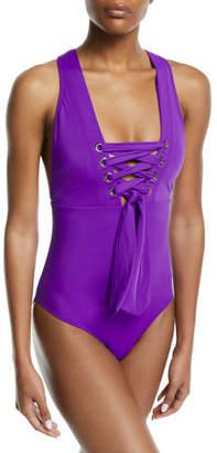 OYE Swimwear Marie Lace-Up One-Piece Swimsuit