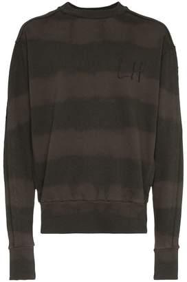 Liam Hodges bleached stripe logo embroidered cotton sweatshirt