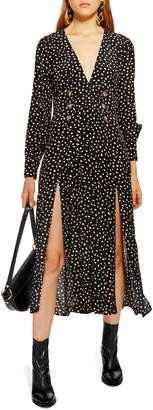 Topshop Printed Button Midi Dress