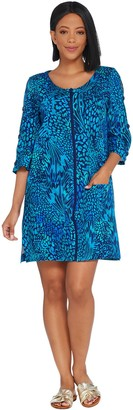 Denim & Co. Beach French Terry Cover-Up with Slit Sleeve Detail