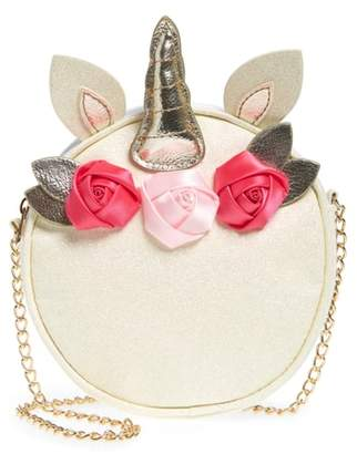 Capelli New York Unicorn with Flowers Faux Leather Crossbody Bag