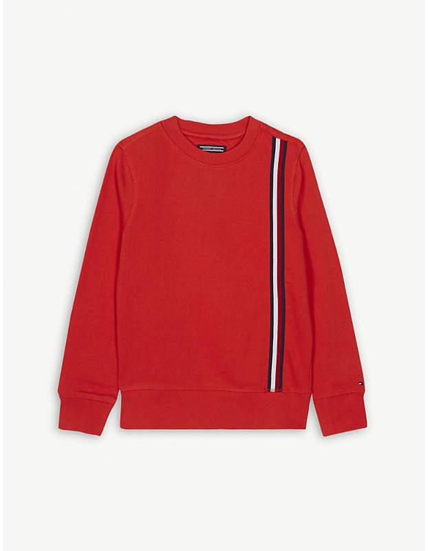 Tape striped trim cotton sweatshirt 4-16 years