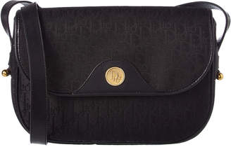 Christian Dior Black Monogram Canvas Shoulder Bag