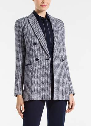 St. John Contrast Geometric Knit Double Breasted Jacket