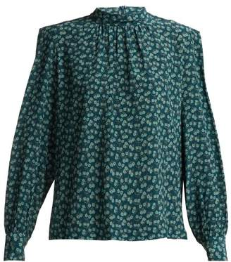 Masscob Posey Floral Print Silk Twill Blouse - Womens - Green Multi