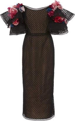 Marchesa Off Shoulder Embroidered Grid Tulle Cocktail Dress