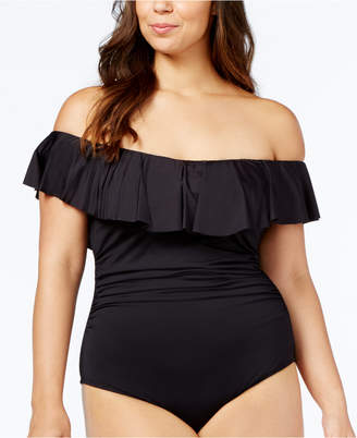 LaBlanca La Blanca Plus Size Off-The-Shoulder Tummy-Control One-Piece Swimsuit Women Swimsuit