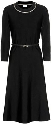 Salvatore Ferragamo Embellished wool-blend dress