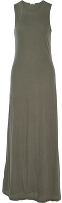 James Perse - Stretch-cotton Jersey Maxi Dress - Army green $265 thestylecure.com