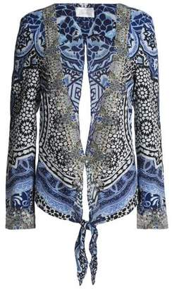 Camilla Tie-Back Crystal-Embellished Printed Twill Jacket