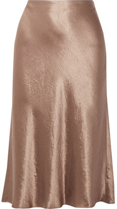 Vince - Washed-satin Midi Skirt - Chocolate $245 thestylecure.com