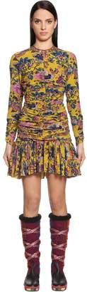 Etro Draped Printed Crepe De Chine Mini Dress