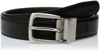 Dockers Big Boys' Reversible Black To Brown Belt With Brushed Nickel Finish Buckle