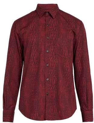 Cobra S.C. Cobra S.c. - Model 1 Crocodile Print Cotton Shirt - Mens - Red