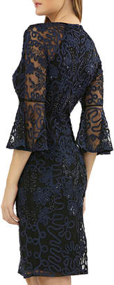 JS Collections V-Neck Bell-Sleeve Beaded Soutache Cocktail Dress