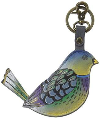 Anuschka Genuine Leather Hand Painted Key Chain/ Key Fob | Blissful Birds